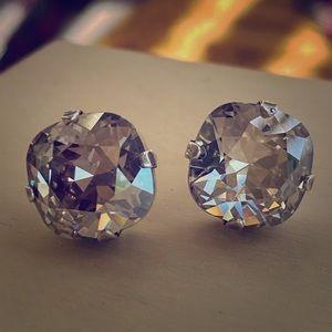 Silver Shade Swarovski cushion earrings